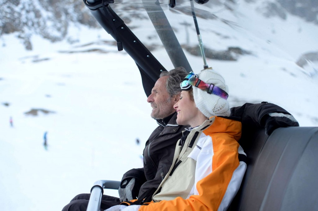 Relaxing on their way up the mountain in Austria