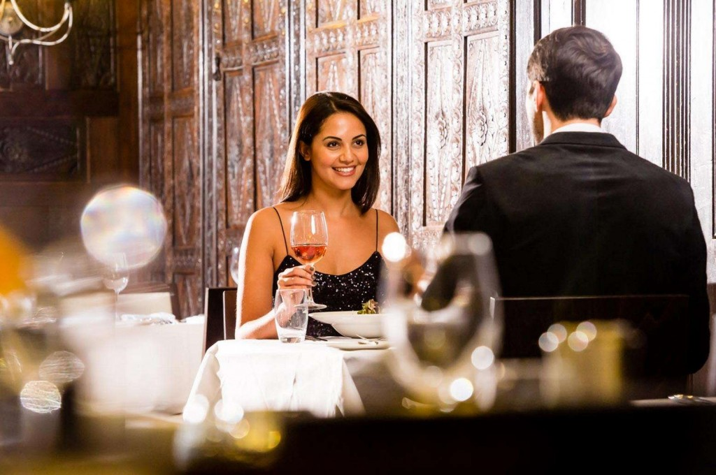 Guests enjoying a romantic dinner here at Trenython Manor