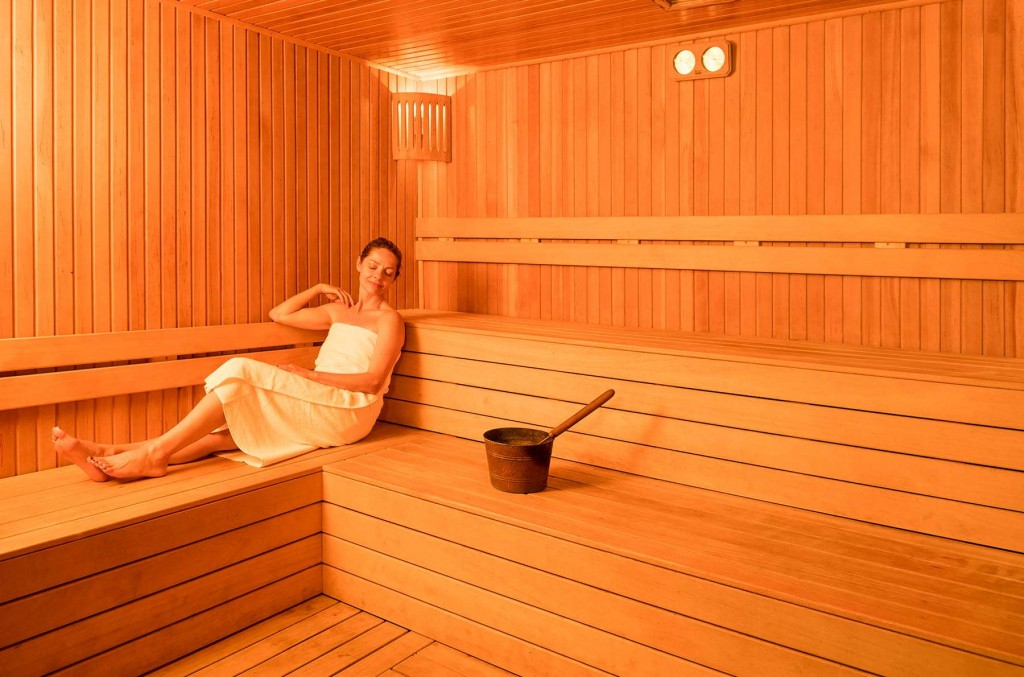 Guest relaxing in the sauna