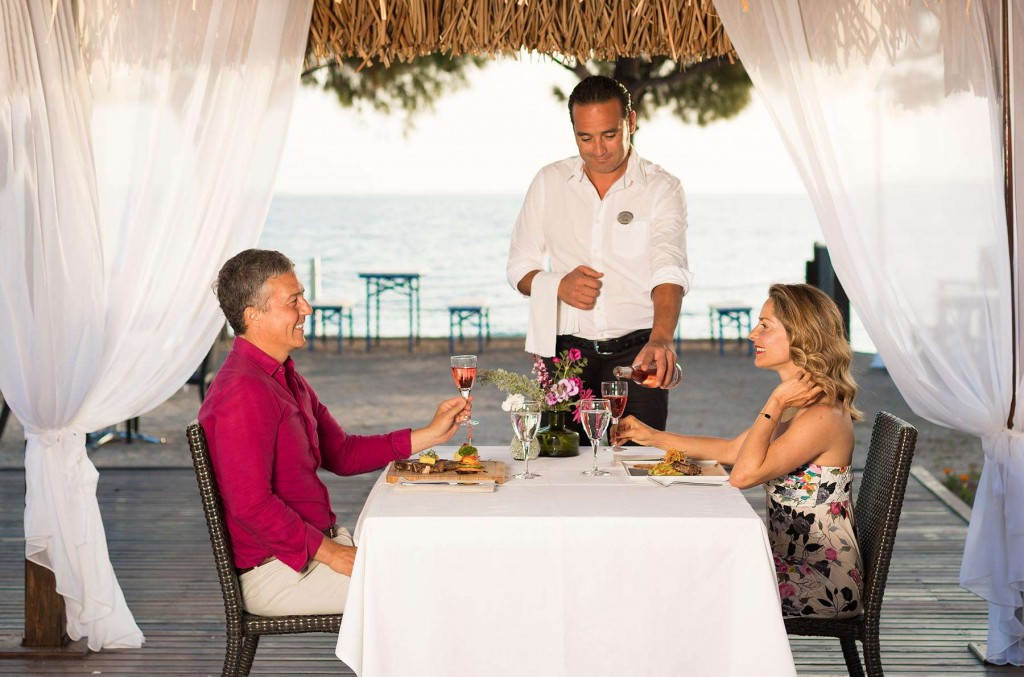 Couple having romantic meal by the sea
