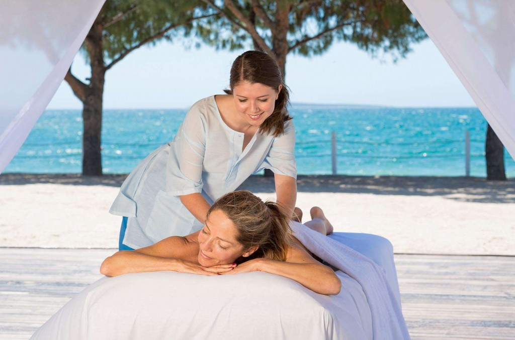 Guest enjoying one of the many wonderful massages offered here at Apollonium