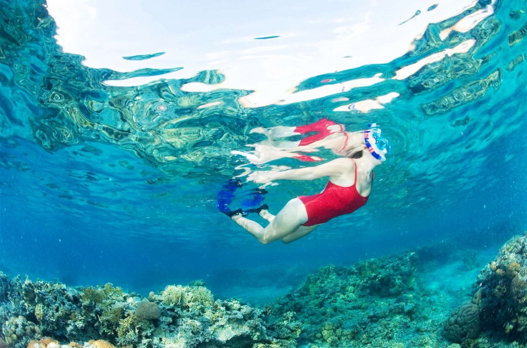 Guest snorkelling in crystal clear water