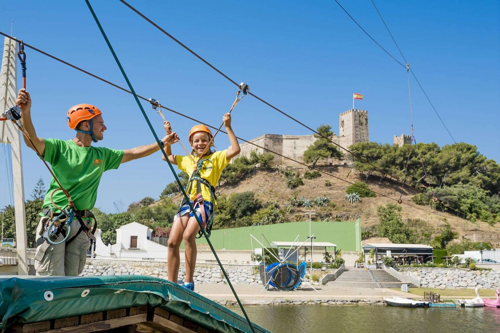 Younger guests enjoying some zip-line action on the Costa del Sol