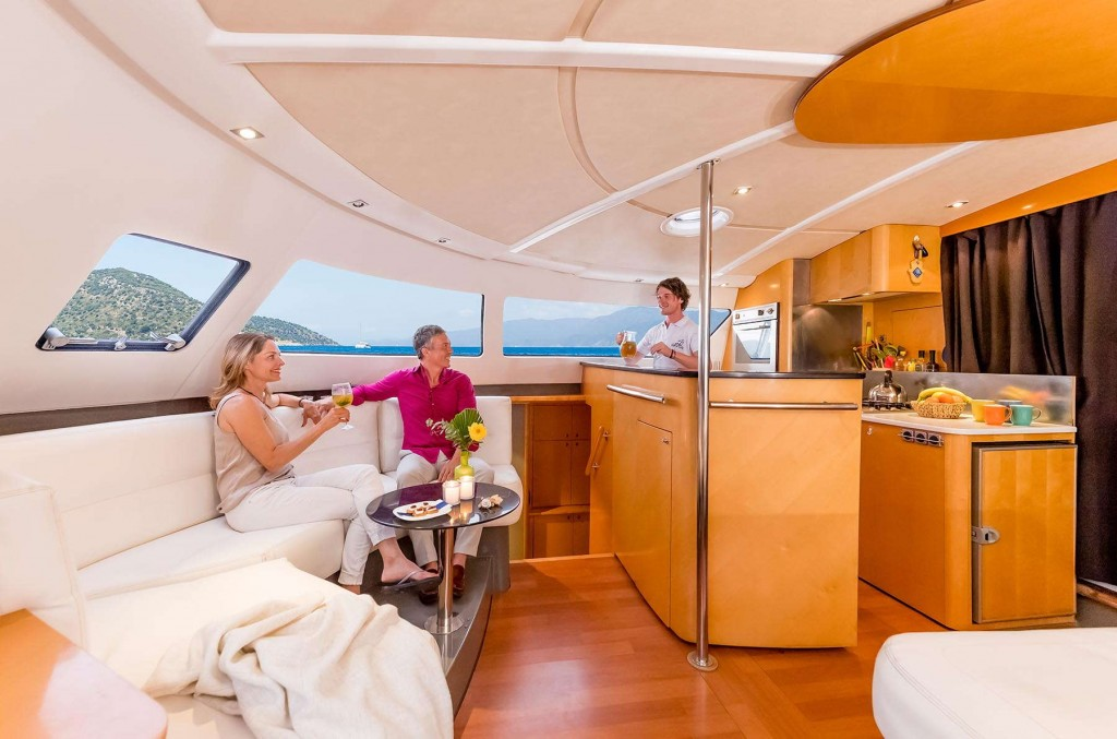 Beautiful spacious interiors of the CLC Yacht with a bar for guests